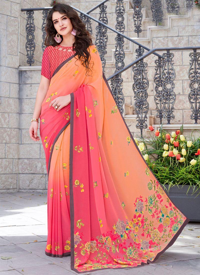 Georgette Multi Colour Trendy Saree
