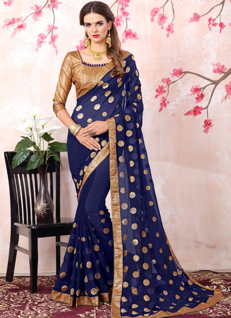 Georgette Navy Blue Bollywood Saree