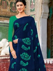 Georgette Navy Blue Printed Casual Saree