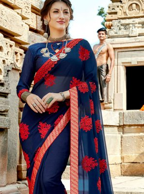 Georgette Navy Blue Trendy Saree