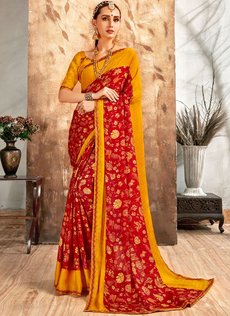 Georgette Orange and Red Printed Saree