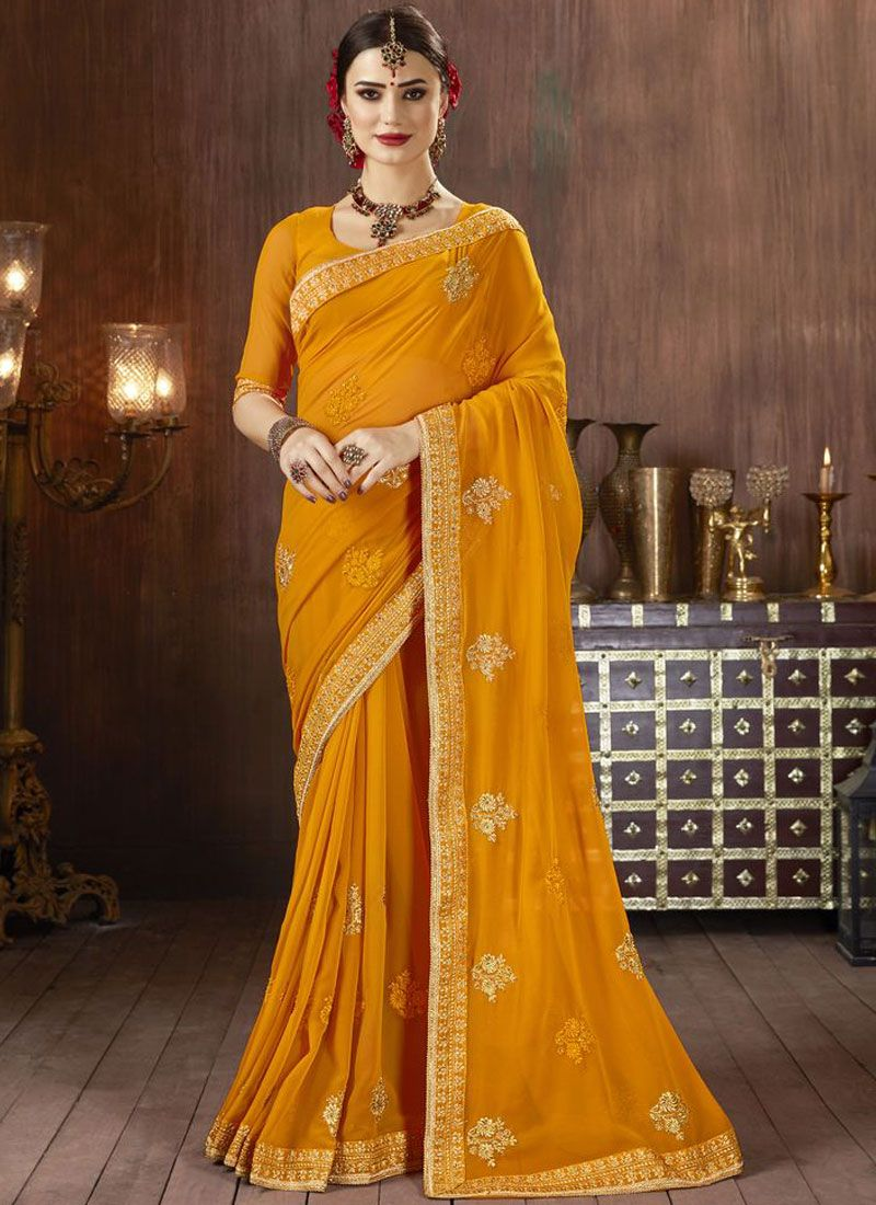 Georgette Orange Classic Saree