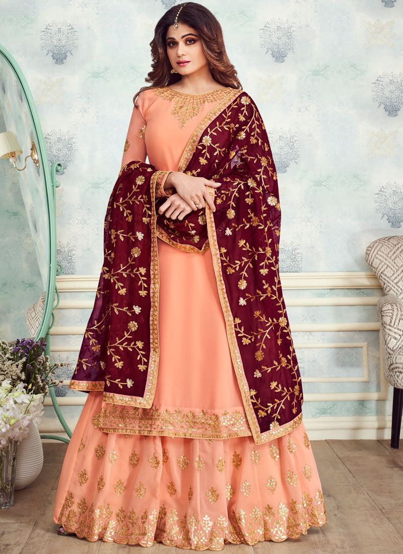 Georgette Orange Designer Salwar Suit