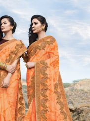 Georgette Orange Embroidered Classic Saree