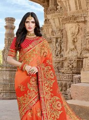 Georgette Orange Embroidered Designer Saree