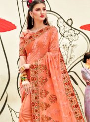 Georgette Peach Classic Saree
