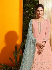 Georgette Peach Embroidered Designer Salwar Kameez