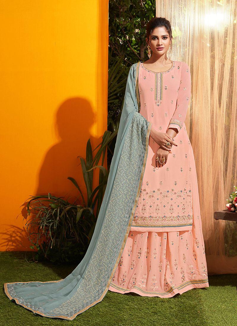 Georgette Peach Embroidered Designer Salwar Kameez