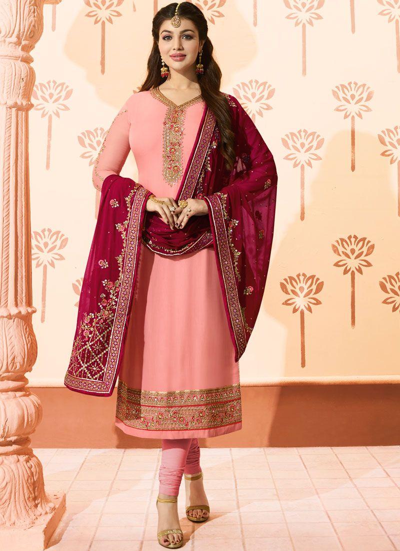 Georgette Pink Churidar Suit