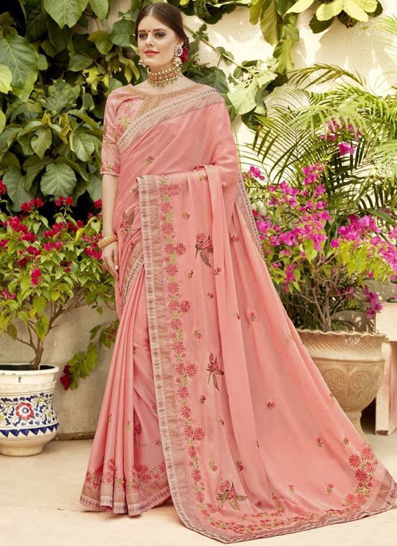 Georgette Pink Embroidered Classic Saree