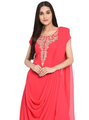 Georgette Pink Embroidered Readymade Salwar Suit