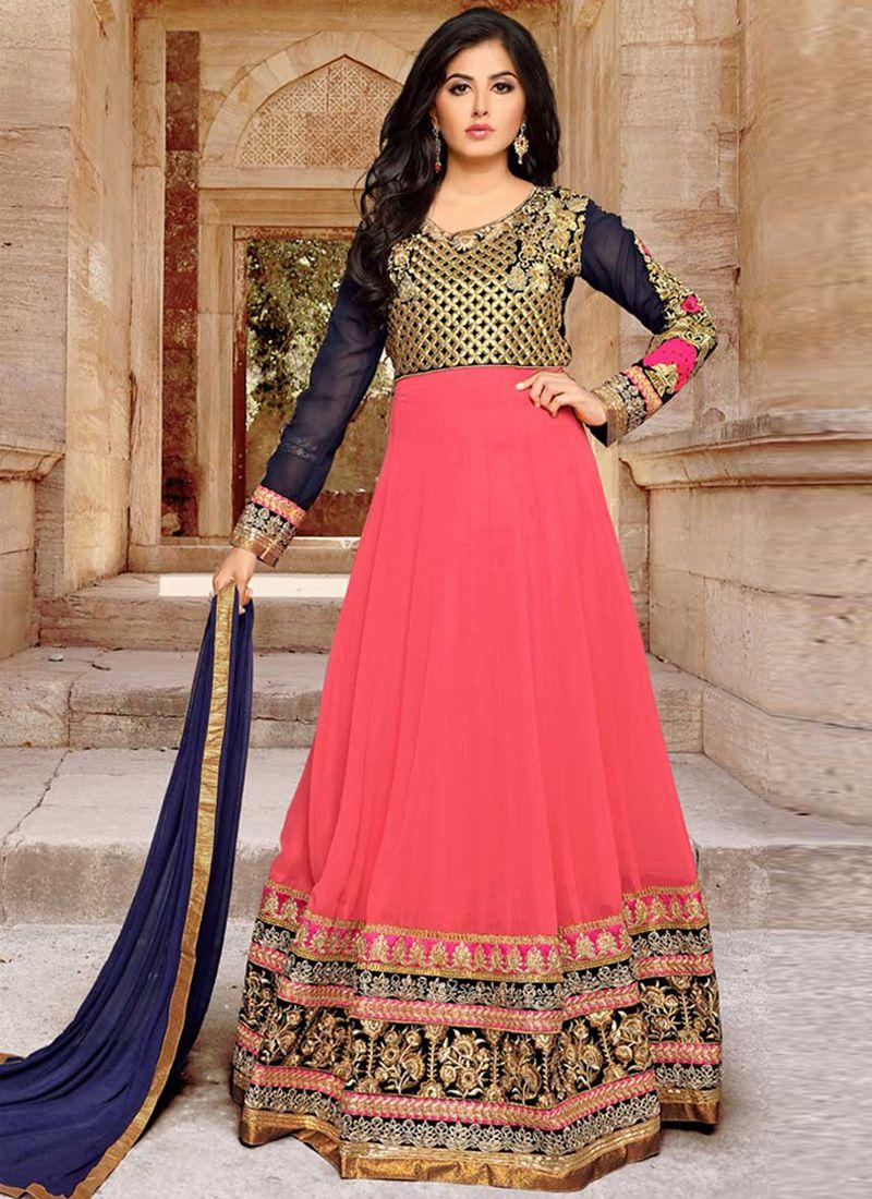 Georgette Pink Patch Border Work Anarkali Salwar Kameez