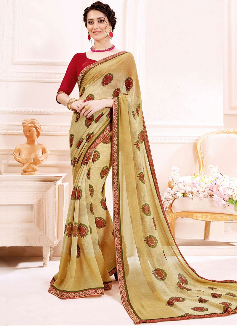 Georgette Printed Beige Trendy Saree