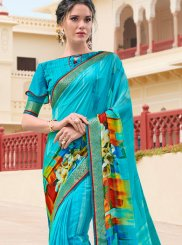 Georgette Printed Blue Casual Saree