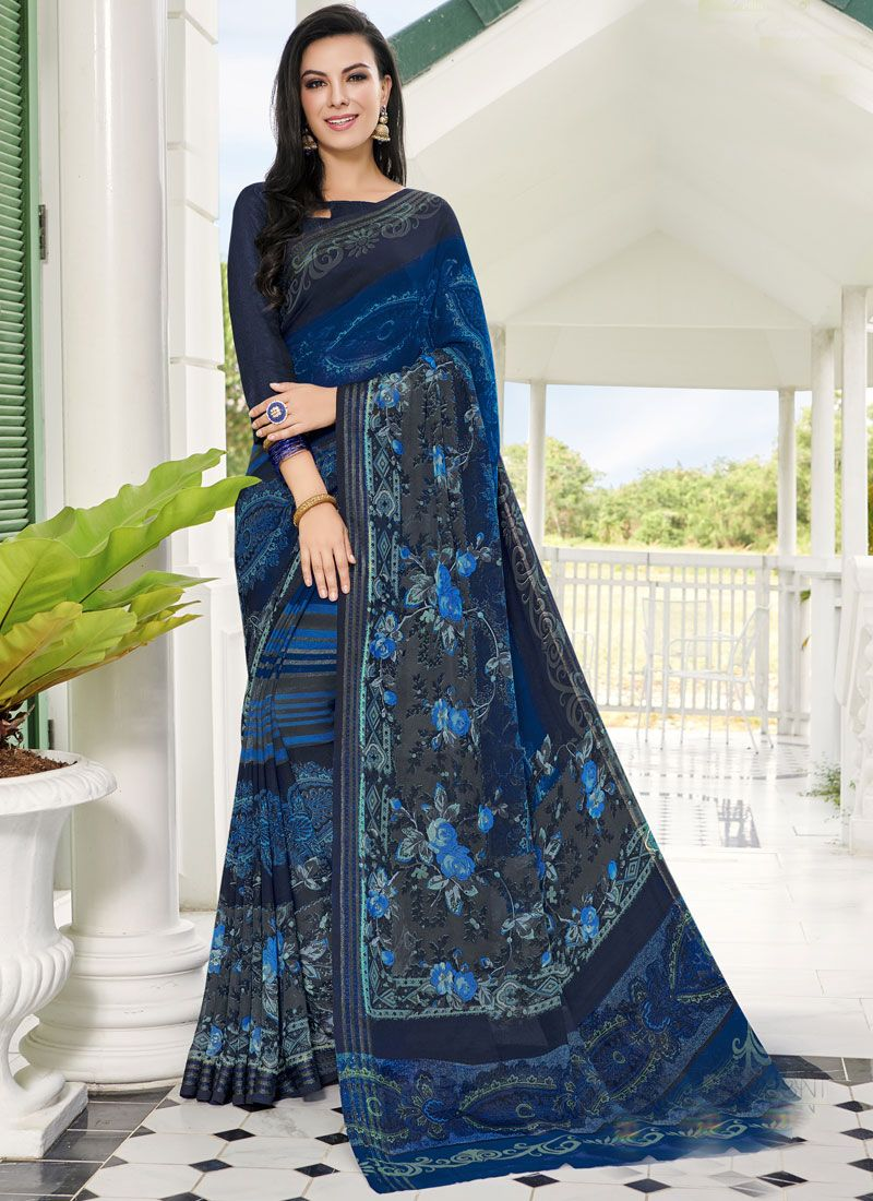Georgette Printed Blue Printed Saree