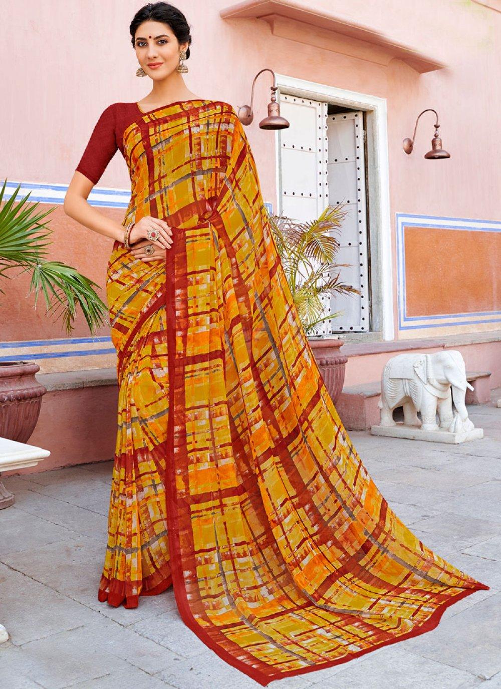 Georgette Printed Casual Saree in Multi Colour