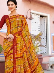 Georgette Printed Casual Saree in Multi Colour