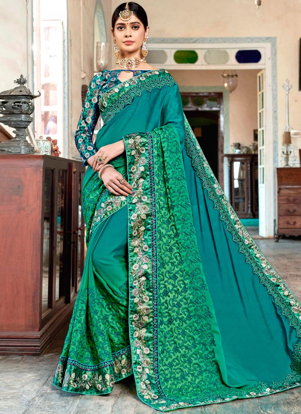 Georgette Printed Green Designer Traditional Saree