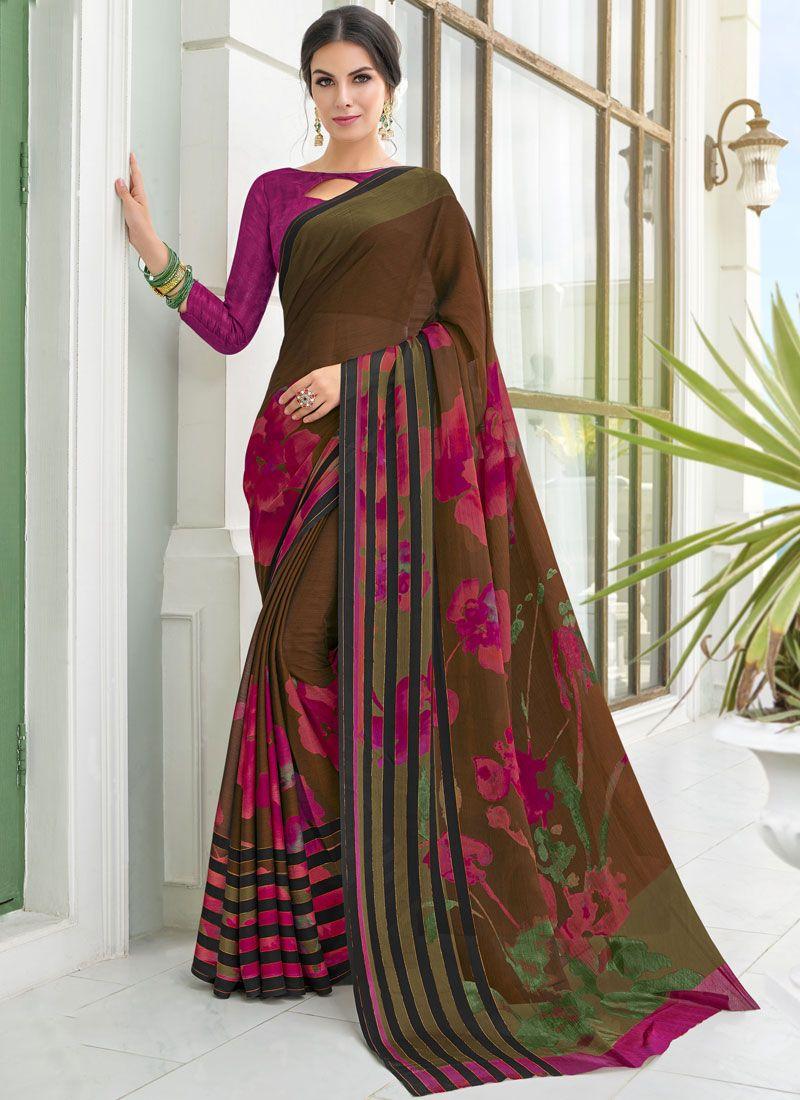 Georgette Printed Multi Colour Casual Saree
