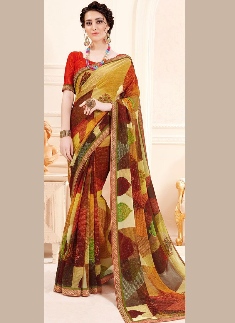 Georgette Printed Multi Colour Trendy Saree