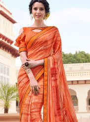 Georgette Printed Orange Casual Saree