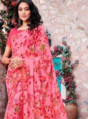 Georgette Printed Pink Trendy Saree