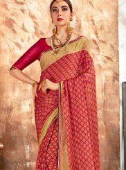 Georgette Printed Saree in Red