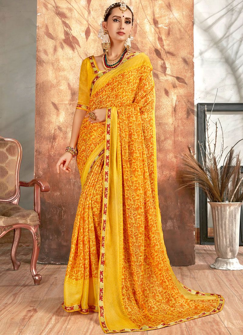 Georgette Printed Saree in Yellow
