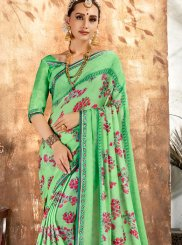 Georgette Printed Sea Green Printed Saree