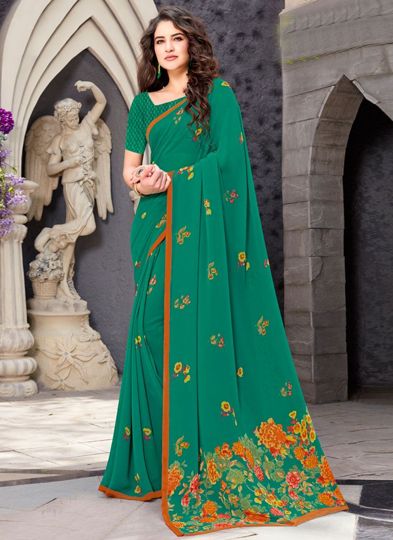 Georgette Printed Trendy Saree