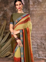 70a0e60357 Lowest Price | Beige Ready Pleated Designer Sarees, Beige Color ...