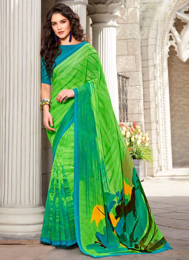 Georgette Printed Trendy Saree in Green