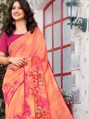 Georgette Printed Trendy Saree in Multi Colour