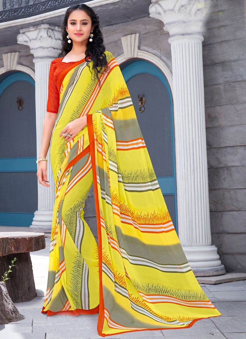 Georgette Printed Trendy Saree in Yellow