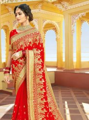 Georgette Red Classic Saree