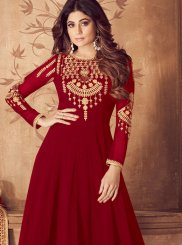 Georgette Red Embroidered Anarkali Salwar Suit