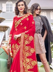 Georgette Red Embroidered Classic Saree