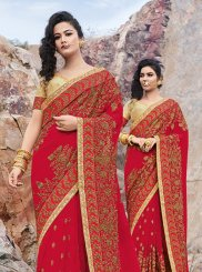 Georgette Red Embroidered Designer Saree