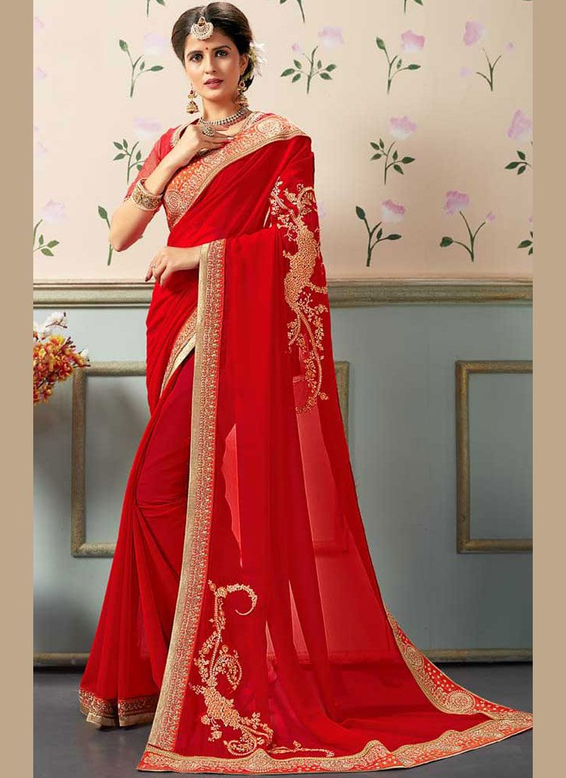 c8c070632d Shop Online Georgette Red Stone Work Designer Saree : 111931 -