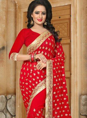 Georgette Red Stone Work Work Classic Saree