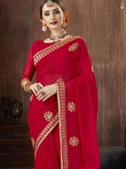 Georgette Red Trendy Saree