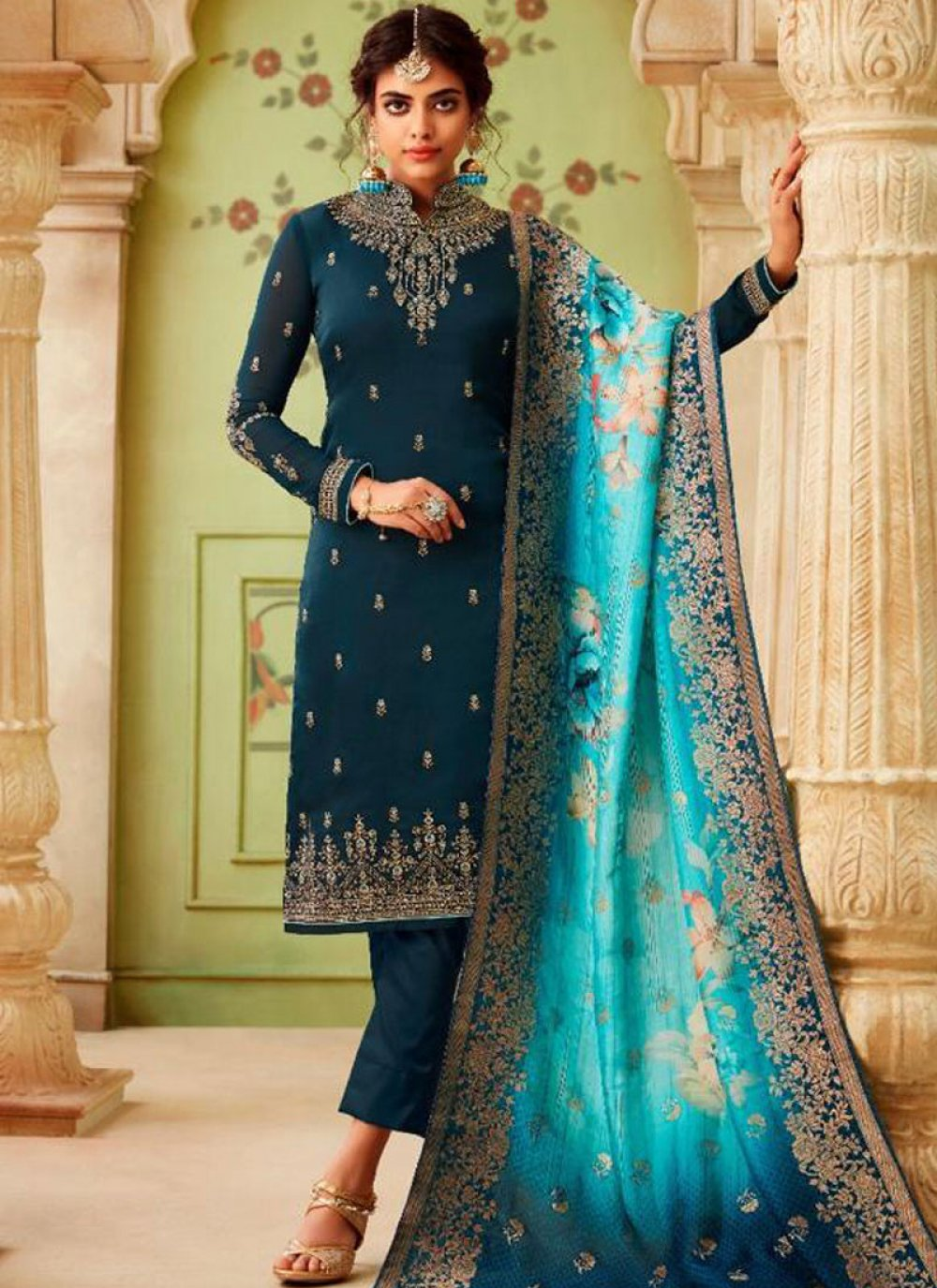 Georgette Resham Pant Style Suit