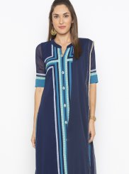 Georgette Salwar Kameez in Navy Blue