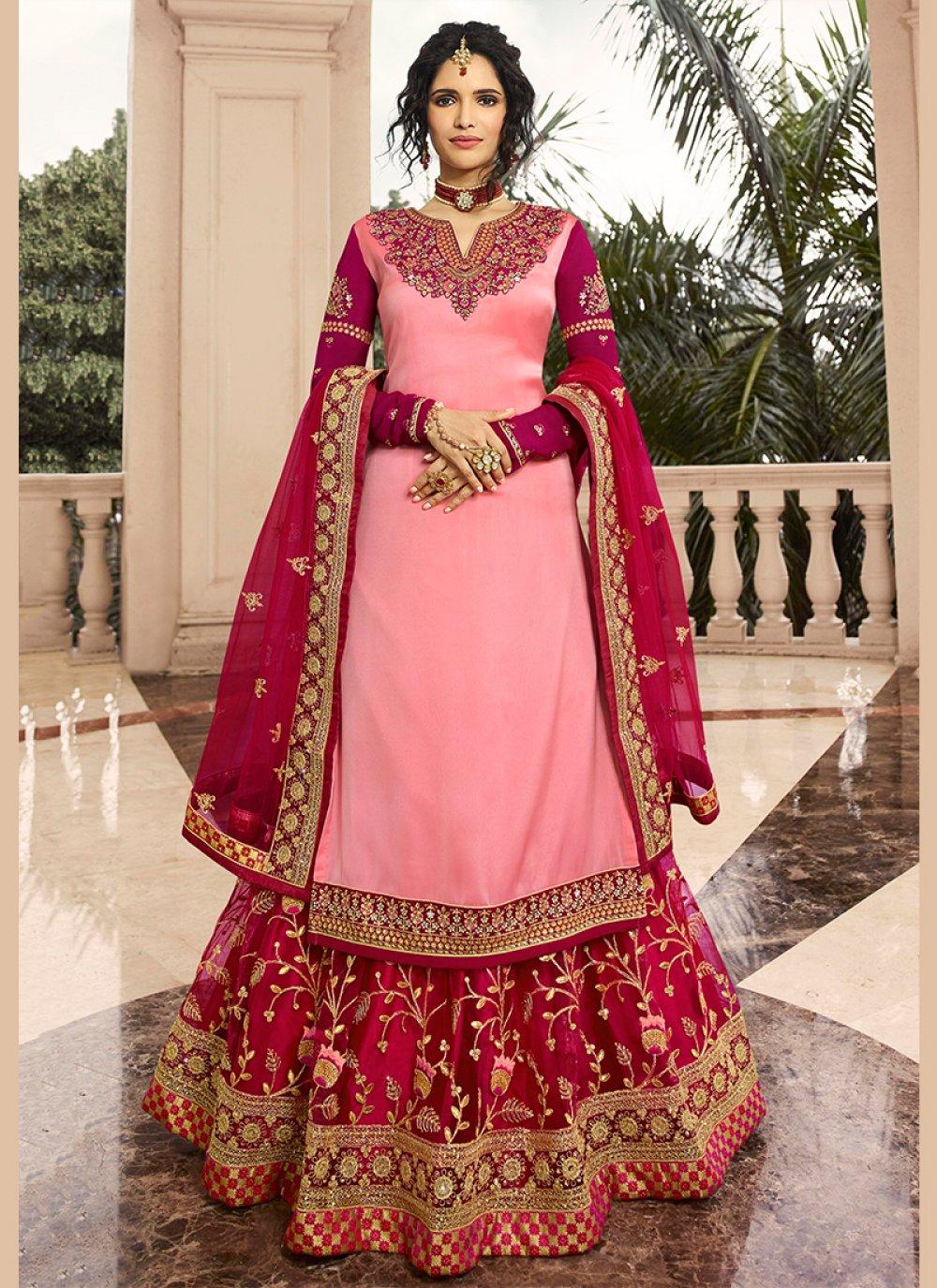 Georgette Satin A Line Lehenga Choli in Pink