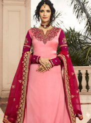 Georgette Satin A Line Lehenga Choli in Pink