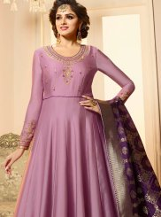 Georgette Satin Anarkali Suit in Lavender