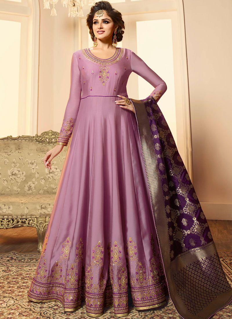 Georgette Satin Anarkali Suit in Lavender