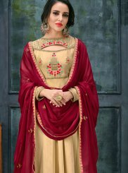 Georgette Satin Beige Floor Length Anarkali Suit