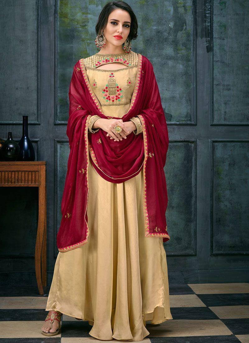 Georgette Satin Beige Floor Length Anarkali Suit