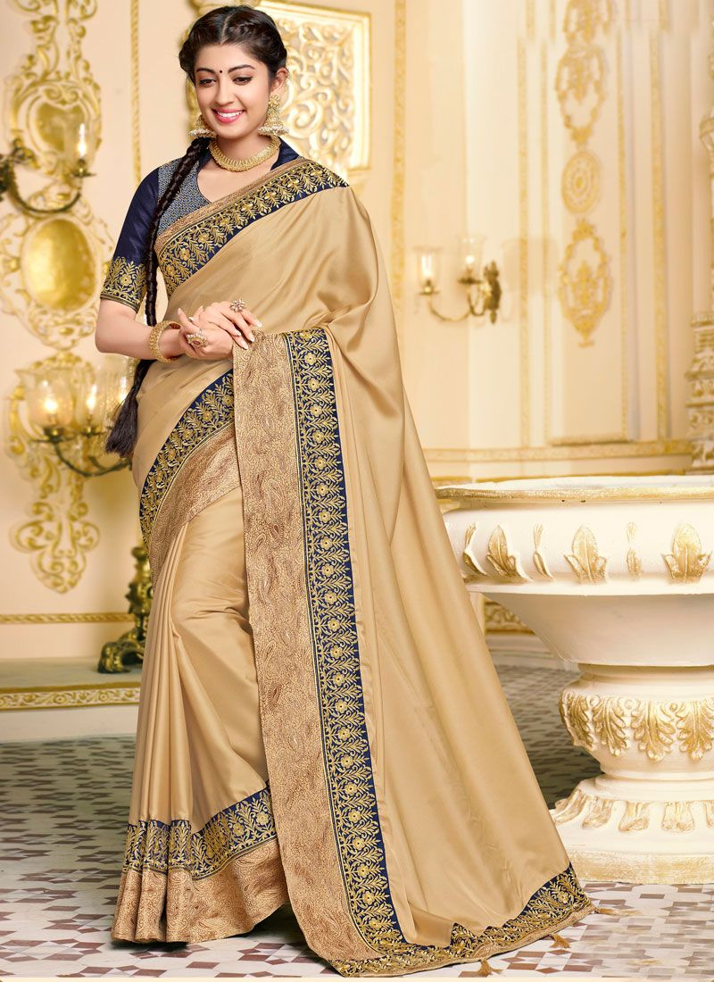 Georgette Satin Beige Traditional Saree